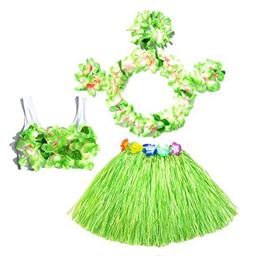 BESTOYARD 6 Sätze Kinder Mädchen Hula Gras Rock mit Blumen Hawaiian Luau Kostüm ()