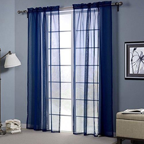 LSERVER Gardine Vorhang Transparent Voile Gardinenschals Fenster Gardine für Wohnzimmer Schlafzimmer ,Blau ,52*63inch(132*160cm) - Wohnzimmer Blau Vorhänge Für
