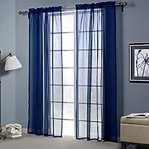 LSERVER Gardine Vorhang Transparent Voile Gardinenschals Fenster Gardine  Für Wohnzimmer Schlafzimmer ,Blau ,52*