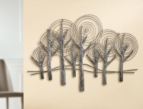 Wanddeko metall silber Bild Relief Forest 80 x 55 cm - antik  3D Wandbilder von Gilde