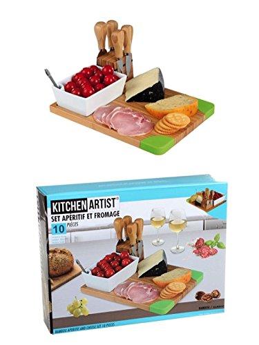 Käse-Set 10 tlg Käsebrett Käsebesteck Käsemesser Schneidbrett Holz Brett Keramikschälchen (Aperitif Servier-Brett, Käseplatte, Käseschneider, Parmesanschaber, Weichkäse-Messer, Käsegabel)