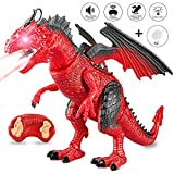 Joylink Fernbedienung Dinosaurier Spielzeug mit Gehen, simuliertem Brüllen, Sprühen, Geschenke für Jungen Mädchen Kinder, Red