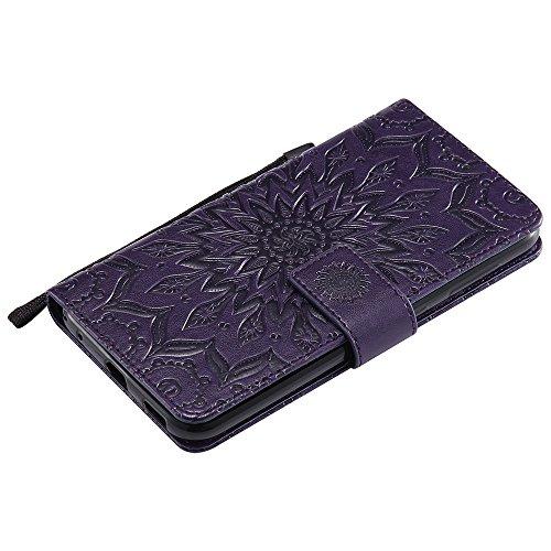 Für Asus Zenfone ZD552KL Fall, Sonnenblumen Magnetisches Muster Premium Weiche PU Leder Brieftasche Stand Case Cover mit Lanyard & Halter & Card Slots ( Color : Red ) Purple