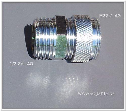 1/2 Zoll AG x M22 AG, chrom, Sanitär Gewinde Adapter M22 AG auf 1/2'Zoll Aussengewinde, Halbzoll auf M 22 AG, Übergang, um z.B.einen Aquadea Kristall-Wirbler oder Filter (Sanuno) an einen Duschschlauch anzubringen.