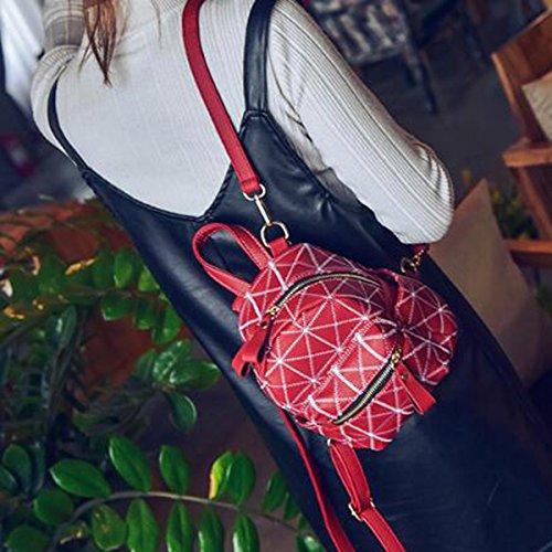 Mädchen Recht Reizend Vorzügliche Stickerei Bequeme Freizeit Kurzer Rucksack-Schulter-Rucksack Multicolor Red