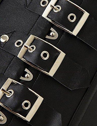 Corset-Eshop Sexy Vintage Gothic Vollbrust Korsett Kunstleder Weste mit Reißverschluss Schwarz Black Neckholder