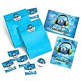 JuNa-Experten 12 Einladungskarten Geburtstag Kinder Erwachsene Mädchen Jungen Jungs Disco-Party / Einladung Kindergeburtstag / Geburtstagseinladung incl. 12 Umschläge, 12 Tüten / blau, 12 Aufkleber