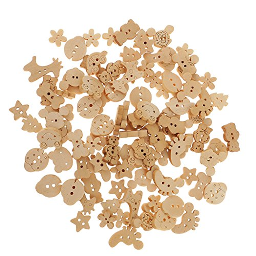 MagiDeal 100pcs Botones de Madera Mezclados Forma de Animal Flor de 2 Agujero para Arte de Costuras - Nutural, A