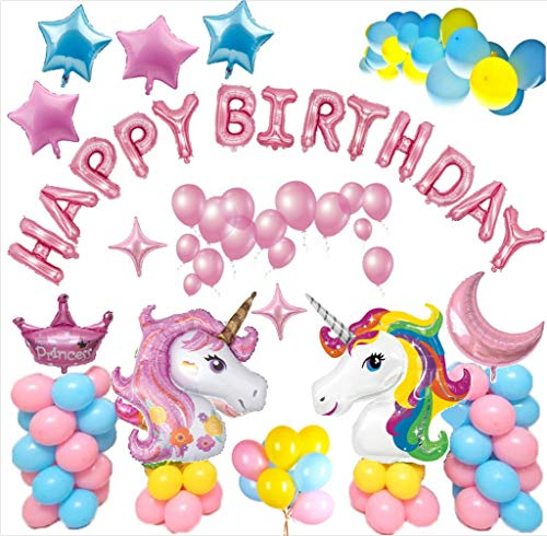 Decoraciones de Fiesta de Unicornio para niña, Daypickerr globos Unicornio, pancarta de feliz cumpleaños, globos azules amarillos y rosados, globos con forma de luna de la estrella para niñas