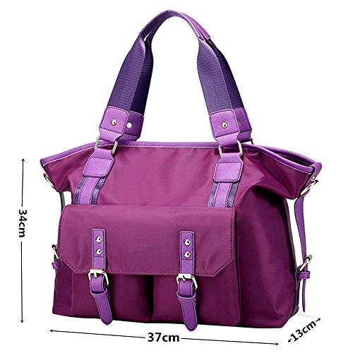 PB-SOAR Damen Herren Nylon Wasserdichte Große Schultertasche Umhängetasche Handtasche Laptoptasche Messenger Bag Shopper Sporttasche Reisetasche (Lila) Lila