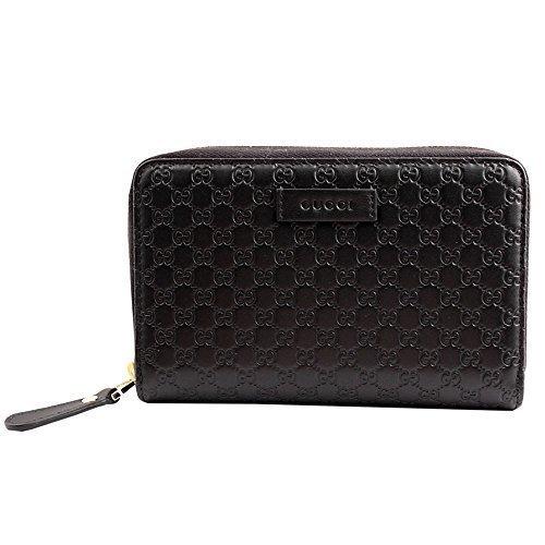 Gucci Microguccissima Leder Portemonnaie rund Reißverschluss Portemonnaie Black 449391 BMJ 1 G 1000