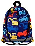 Aminata Kids - Kinder-Turnbeutel für Junge-n mit BAU-Fahrzeuge Feuerwehr Auto-s Sport-Tasche-n Gym-Bag Sport-Beutel-Tasche bunt dunkel-blau gelb rot