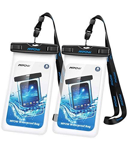 Mpow Wasserdichte Handyhülle 2 Stücke, Handytasche Wasserfest, Staubdichte Schutzhülle für iPhone X/XR/ XS/XS MAX/8/7/6/6s/6splus/Galaxy S9/S8/S7/S7edge/S6/S Huawei P10/P8/P9 usw. bis 6,5 Zoll