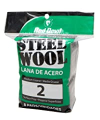 Red Devil 0325 Steel Wool, 2 Medium Course, 8 Pads