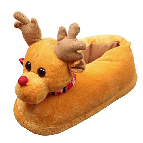 Gaddrt Weihnachten Winter Netter Hirsch mit Schals Plüsch Baumwolle Haus Hausschuhe Warm Indoor Schuhe Unisex Erwachsene und Kinder Anti-Rutsch Soft Flip Flop Bad Flache Slipper, Gelb - Plüsch-schals