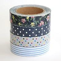 Set di 4 nastri adesivi decorativi in tessuto di cotone, per lavori creativi fai da te, fantasia floreale blu e pois