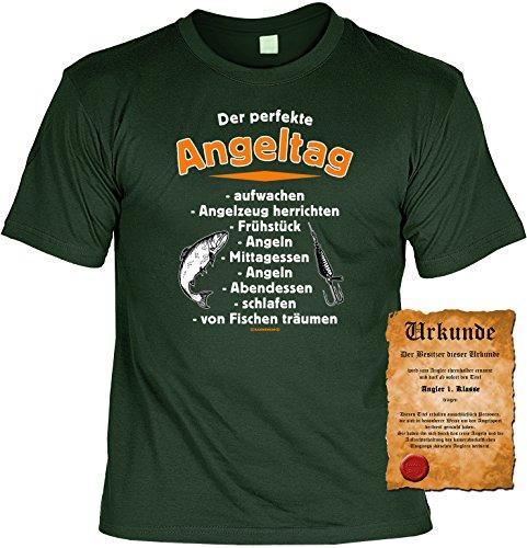 Lustiges T-Shirt für Angler mit Gratis Urkunde Der perfekte Angeltag - lustiges Fun Shirt für Fischer Fischerfreunde Dunkelgrün
