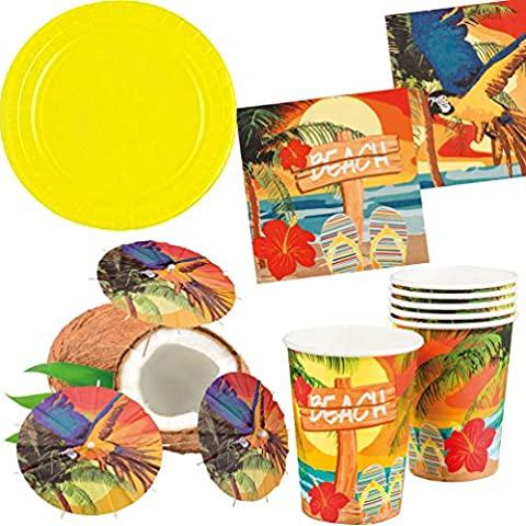 Party Set XL Hawaii Beach Ara gelb 32 Teile : Teller, Becher, Servietten, Cocktail-Schirmchen