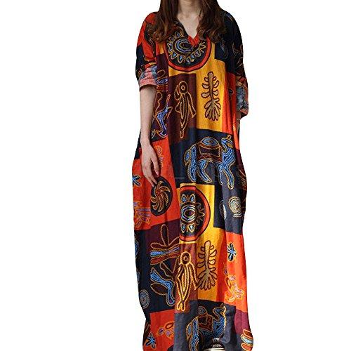 Damen Frühling und Sommer Lang Tunika Kleid Vintage Baggy Party Kleider Maxikleid Strandkleid Große Größe Karneval Fasching Fasnacht Businesskleid ()