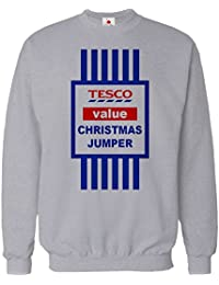 CHRISTMAS JUMPER SWEATER MENS FUNNY TOPS TESCO VALUE SWEAT SHIRT XMAS GIFT 2015 UNISEX TOP Large Grey