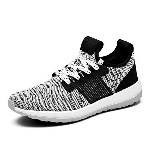 Iceunicorn Hommes Baskets Chaussures De Sport Courir En Cours D'exécution Sport Sneaker Casual Tennis De Plein Air Sneakers Noir / Blanc-2