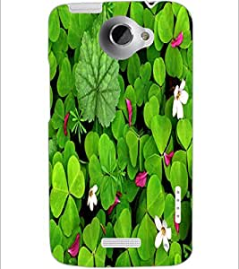 PrintDhaba Leaves D-1264 Back Case Cover for HTC ONE X (Multi-Coloured)