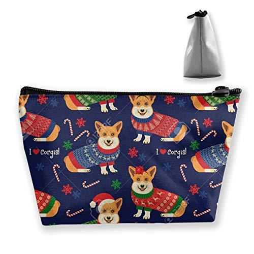 Weihnachten-Muster-Corgis Münze Geldbeutel ändern Beutel Bleistift Fall Handytasche Make Up Taschen (Nyx Lippen Bleistift)