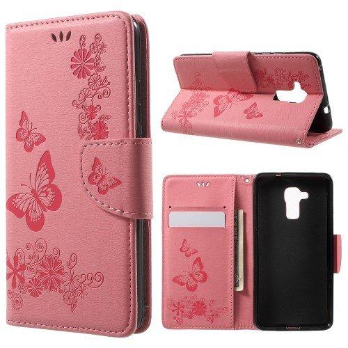 jbTec® Flip Case Handy-Hülle zu Huawei GT3 / Honor 5c - Book Muster Schmetterlinge S19 - Handy-Tasche Schutz-Hülle Cover Handyhülle Ständer Bookstyle Booklet, Farbe:Rosa