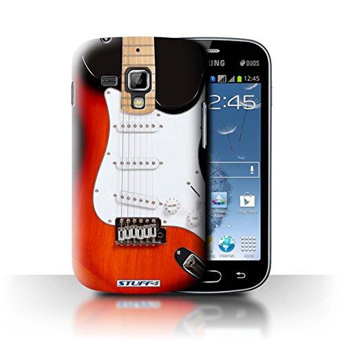 Stuff4 Custodia/Cover Rigide/Prottetiva Stampata con Il Disegno Chitarra per Samsung Galaxy Trend Plus/S7580 - Elettrico Rosso