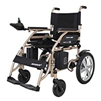 ACEDA Electric Powered Wheelchair Lightweight 34.5Kg Portable Folding Heavy Duty Mobility Scooter,Motorized Wheelchair,Seat Width 45Cm