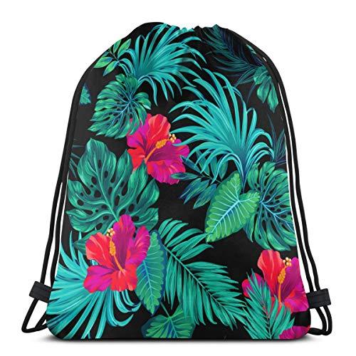 Tropical Palms und Hibiscus Botanical Black Drawstring Rucksack Tasche für Kinder Jungen Mädchen Teens Geburtstag, Geschenk String Bag Gym Cinch Sack 14,2 x 16,9 Zoll