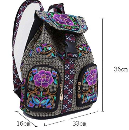 National Wind Tasche Stickerei Retro Freizeit Stickerei Umhängetasche Weibliche Modelle Rucksack Leinwand Tasche B