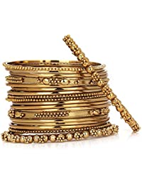 Zeneme Traditional Wedding Mehandi Gold-Plated Bangles Bracelets Set For Women