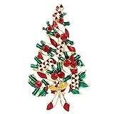 Spilla Regalo,TENYE Austriaco Cristallo Smalto Rosso Nastro Albero di Natale Spilla Oro-fondo