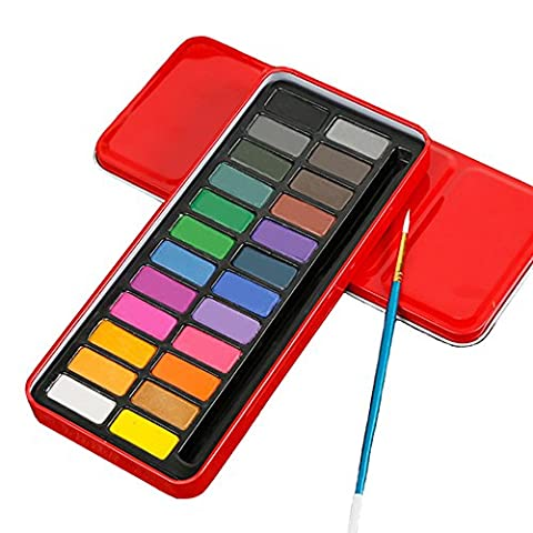 Vibrant Color Block Gouache Paint Set in Metal Tin Long Lasting Watercolour Paints with A Brush Best for Painting Dyeing Coloring Sketching