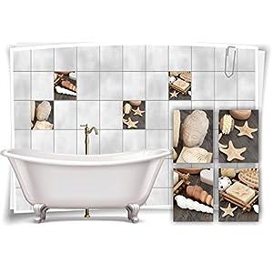 Medianlux Fliesenaufkleber Fliesenbild Budda Muscheln Seife Wellness SPA Aufkleber Sticker Deko WC Bad, 20x25cm