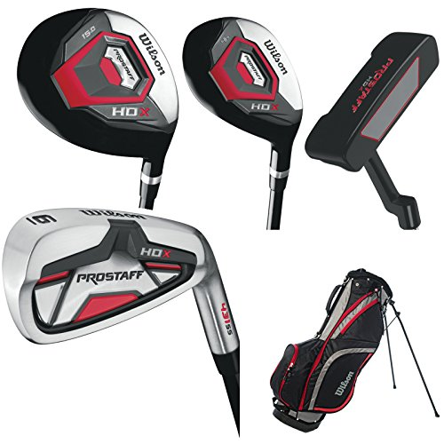 Wilson ProStaff HDX Golf Komplettset Eisen 5-SW +1 inch, Hybrid, Holz, Putter, Wilson Standbag