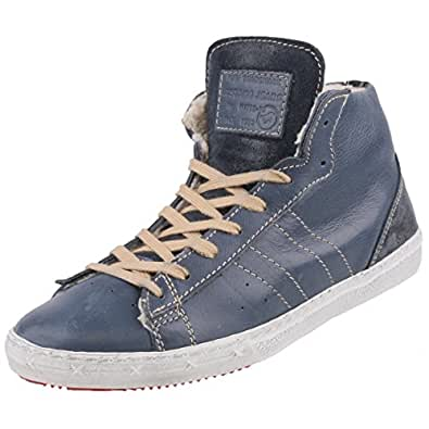 Mustang Leder Herren High-Top-Sneaker gefüttert, Schuhgröße:EUR 46, Farbe:Blautöne