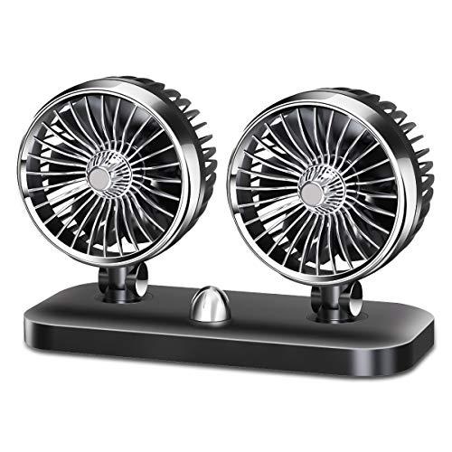 Preisvergleich Produktbild Betuy Auto Ventilator,  Doppellüfter 24 Volt Auto Kfz Lüfter,  Drehbarer Doppeltköpfe Lüfter mit 2 Geschwindigkeiten & Vertikal Horizontal einstellbar Ventilator,  Leistungsstarke Gebläse Luftfilte