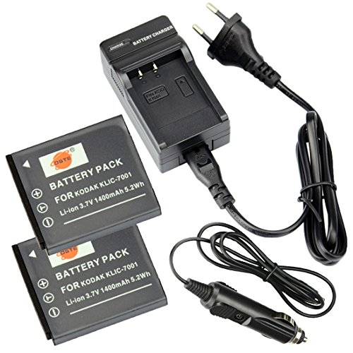 Zoom, Kodak Easyshare (DSTE®(2 Pack)Ersatz Batterie und DC52E Reise Ladegerät Compatible für Kodak KLIC-7001 Easyshare M1063 M1073 IS M340 M341 M753 Zoom M763 M853 Zoom Easyshare M863 M893 IS EasyShare V550 V570 V610 V705)