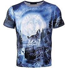 Cayuan Camisetas da Manga Corta Hombre 3D Lobo Animal Graphics Imprenta tee Shirt Verano Loose O Neck Tops Club 89A1rqCa
