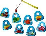 HABA 303606 - Angelset Meerestiere | Badespielzeug mit bunten Meeresmotiven | Set aus Angel und 8 Angel-Elementen | Badewannenspielzeug ab 18 Monaten