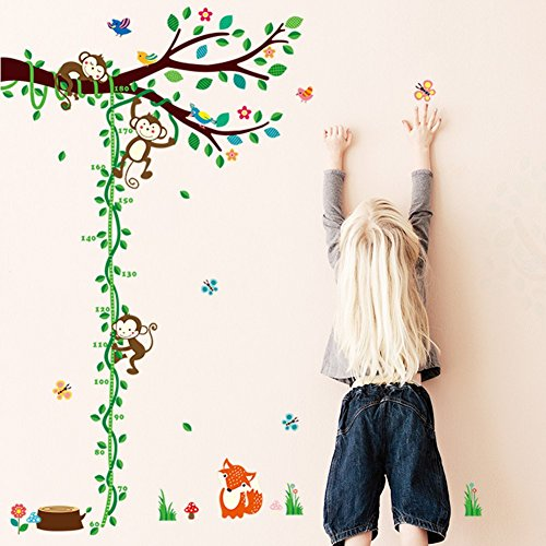 ElecMotive Abnehmbare Messlatte Körpergröße Messen Wandsticker für Kinderzimmer in Geschenkkarton verpackt (Affe Baum Messlatte)