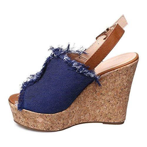 La Modeuse - Sandales compensées en jeans Bleu