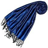 Lorenzo Cana Luxus Damenschal Pashmina 70% Seide 30% Viskose mit Paisleymuster Schaltuch 70 cm x 190 cm zweifarbig Schal Stola Frauensschal Damentuch dunkelblau