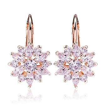 DEHANG - Boucles d'Oreilles Femme Fille - AAA Zircon Couleur Cz Cristal Blanc– Avec écrin