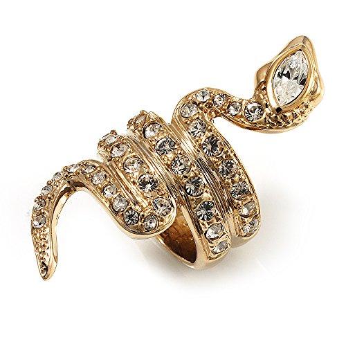 Oro tono cristallo Swarovski Anello a forma di serpente, 14ct metallo con base placcato oro, 59 (18.8), cod. R00589-9