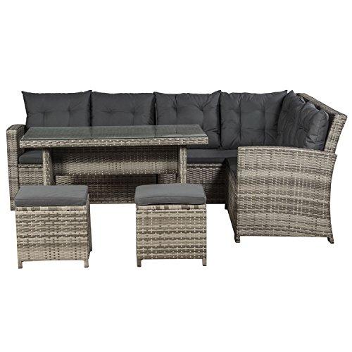 ArtLife Polyrattan Sitzgruppe Lounge Santa Catalina beige-grau | dunkelgraue Bezüge | Gartenmöbel-Set mit Ecksofa, Hocker & Tisch