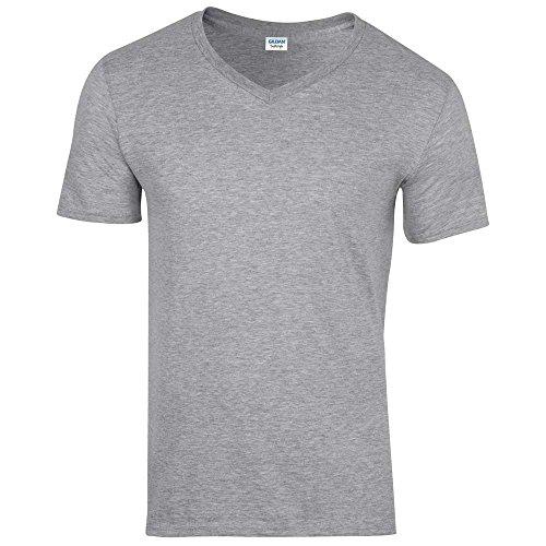 GILDANHerren T-Shirt Grau Sports Grey L,Grau - Sports Grey (Casual T-shirt V-neck)