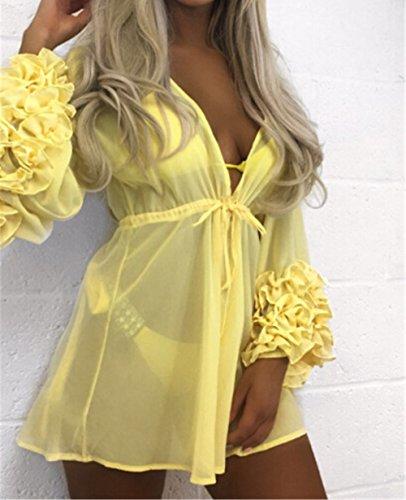 MONEYY Bikini spiaggia smock femmina cuciture in chiffon colore solido coperchio del costume da bagno (no bikini ,L4) L4